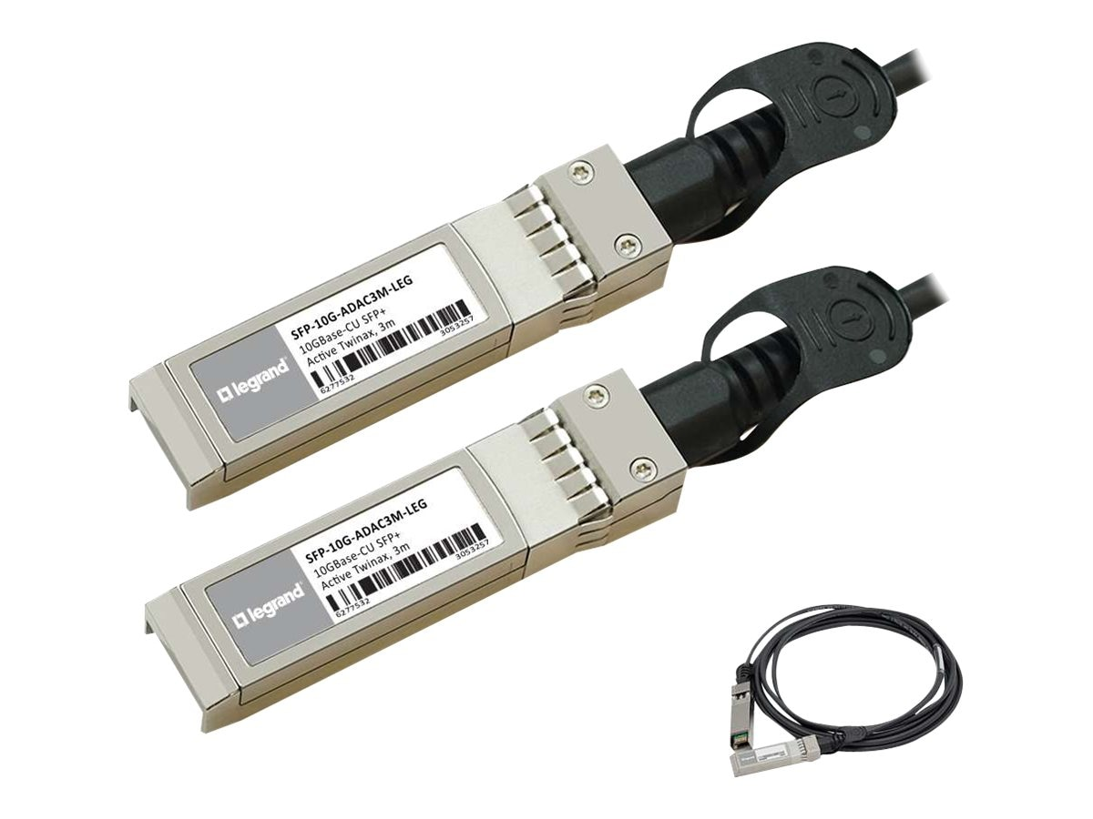 C2G 10GBASE-CU SFP+ to SFP+ Direct Attach Active Twinax Cable, 3m, MSA and TAA Compliant