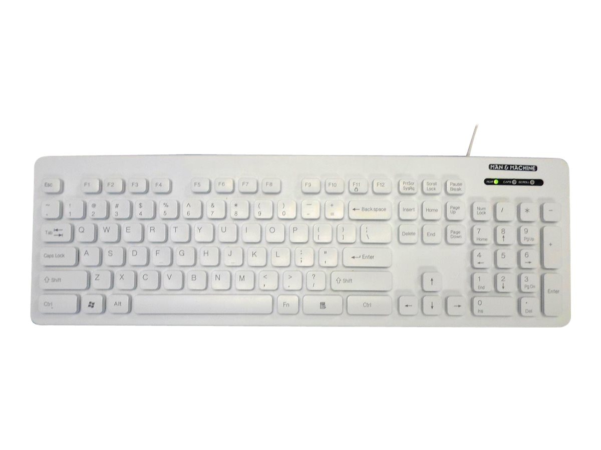 Man & Machine Lcool Value Keyboard Open Style, Washable, Lockable, White