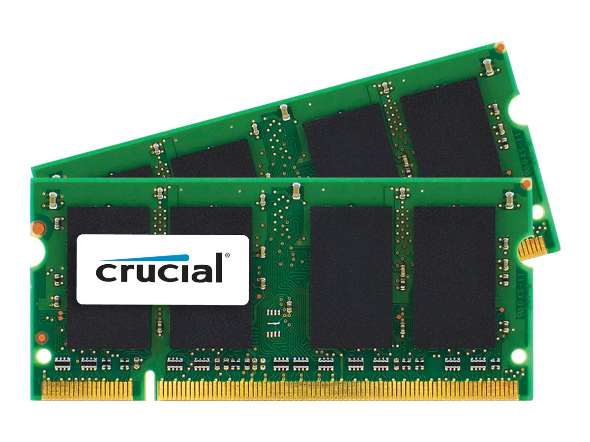 Crucial 4GB PC2-5300 200-pin DDR2 SDRAM SODIMM Kit for iMac, MacBook, CT2K2G2S667M, 14581731, Memory