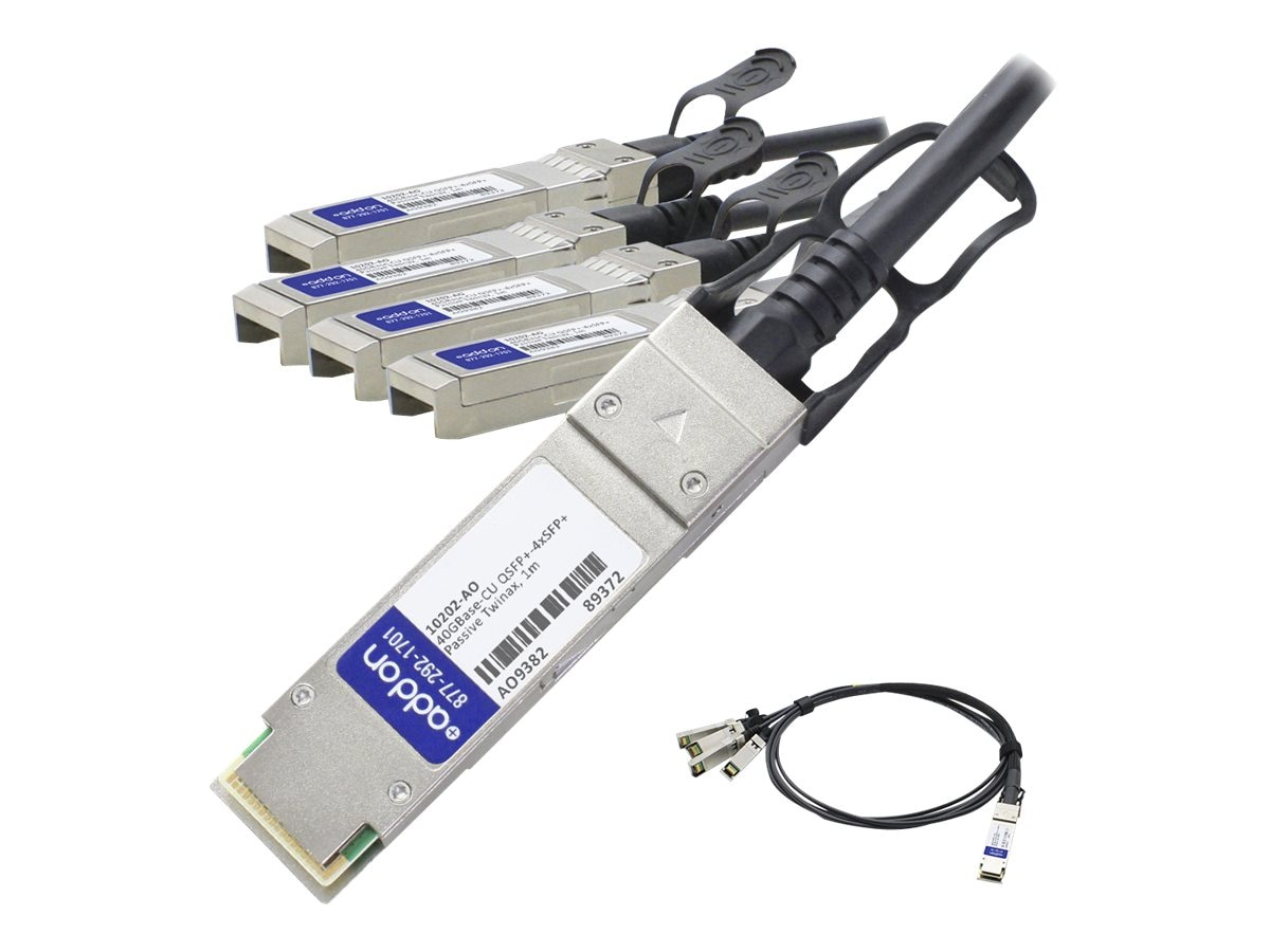ACP-EP 40GBase-CU QSFP+ to 4xSFP+ Direct Attach Passive Twinax Cable for Extreme, 1m, 10202-AO