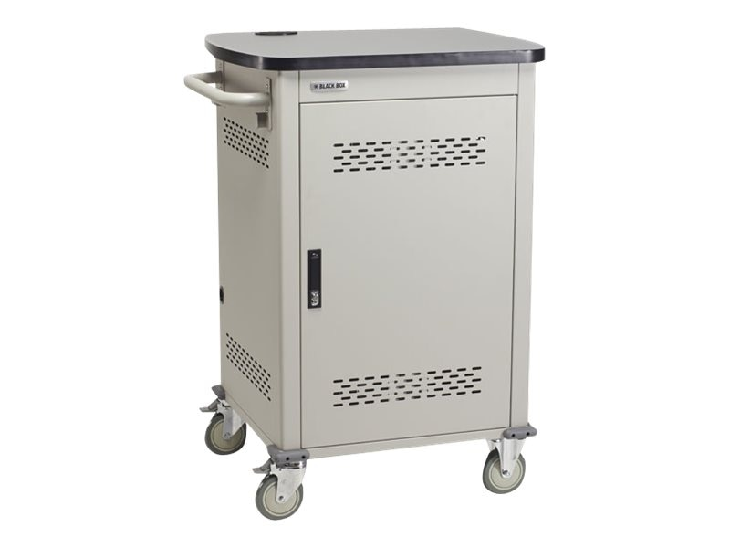 Black Box 20-Device Universal Computing Charging Cart, Single Frame with Medium Slots, Hinged Doors