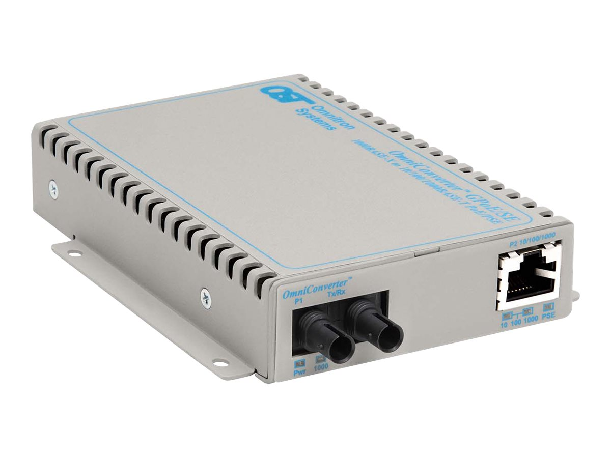 Omnitron 1000GIGABIT POE Ethernet Fiber Media Converter ST MMF US AC, 9460-0-11, 17051074, Network Transceivers
