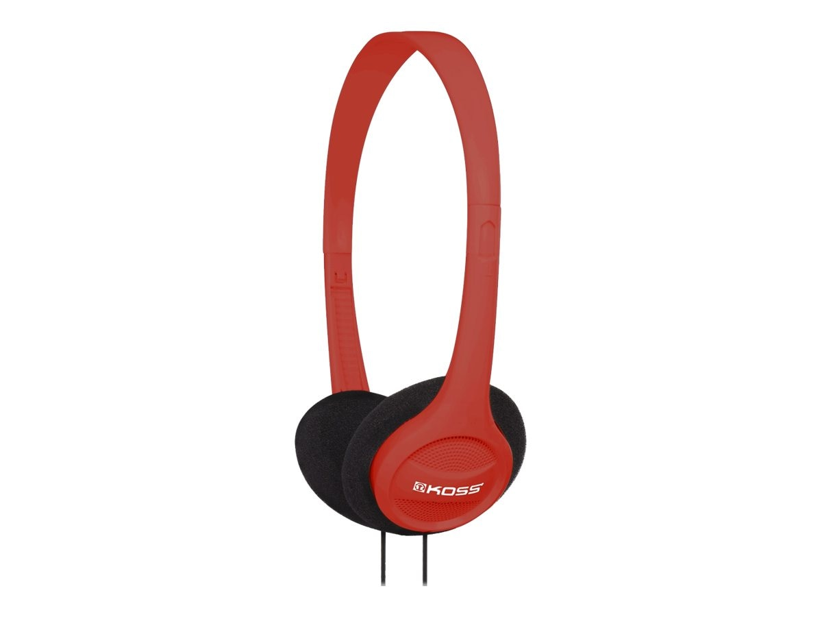Koss Portable On Ear Headphone Adjustable Headband, Red