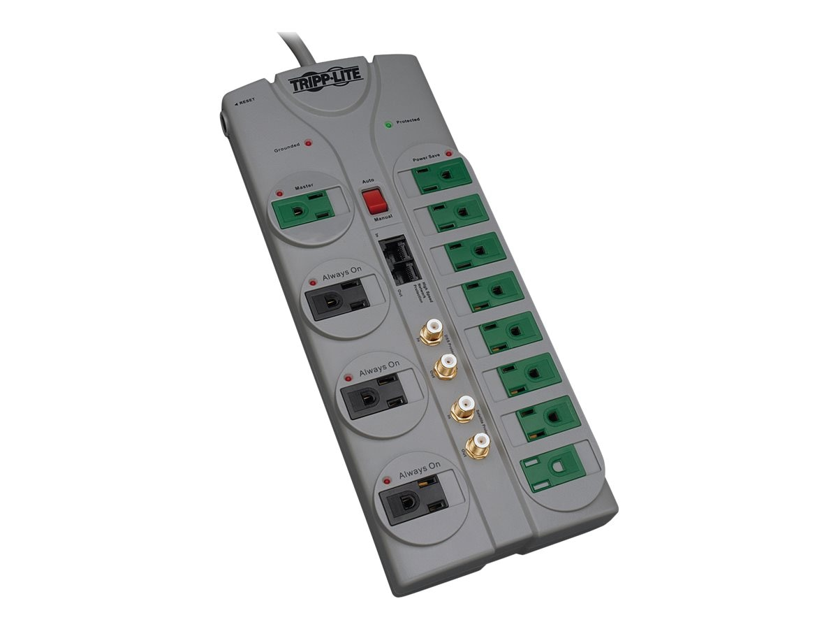Tripp Lite ECO Green Home Theater Surge Suppressor (12) Outlets Coax RJ-45, TLP1210SATG, 11150670, Surge Suppressors