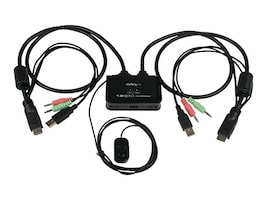 StarTech.com 2-Port USB HDMI Cable KVM Switch with Audio and Remote Switch, USB Powered, SV211HDUA, 16441679, KVM Switches