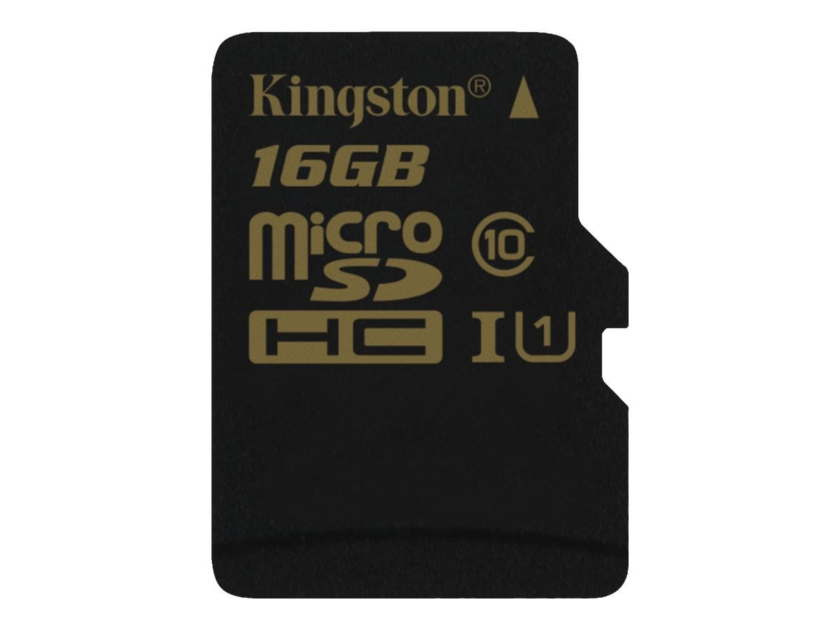 Kingston 16GB MicroSDHC UHS-I Flash Memory Card, Class 10 with MicroSD Adapter, SDCA10/16GB, 17245995, Memory - Flash
