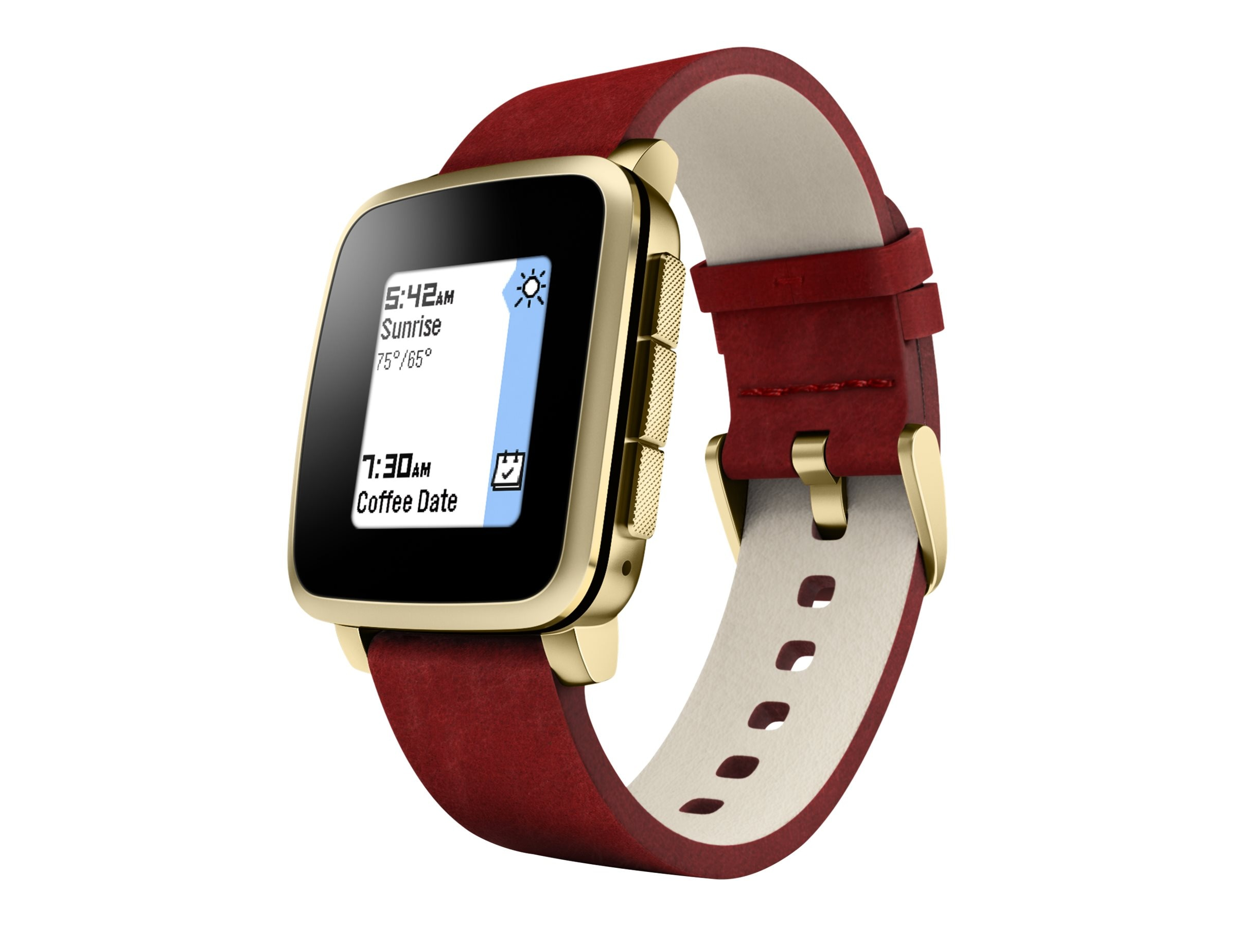 Pebble Time Steel Smartwatch, Gold with Metal Band