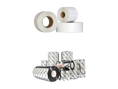 Intermec 3.1 x 900' TT Wax Ribbons (2-pack) w  3 x 1 Top Coated Perforated Adhesive Labels (8 Rolls), V1701210, 20023171, Printer Ribbons