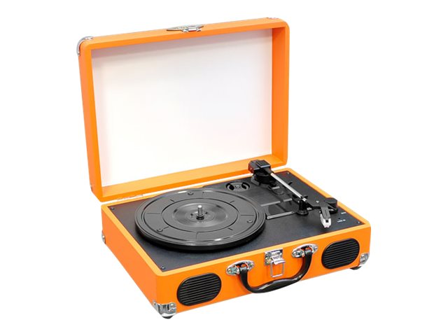 Pyle Retro Belt-Drive Turntable with USB-to-PC Connection, Rechargeable Battery - Orange