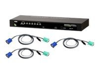 Aten 8-Port KVM Switch with (8) PS 2 Cables, CS1308KIT, 10101104, KVM Switches