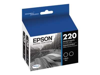 Epson Standard-Capacity Black Dual Pack Ink Cartridges, T220120-D2