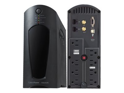 CyberPower 1500VA 900W UPS AVR (8) Outlets RJ-11 RJ-45 Coax Tower EMI RFI, CP1500AVRT, 7130801, Battery Backup/UPS