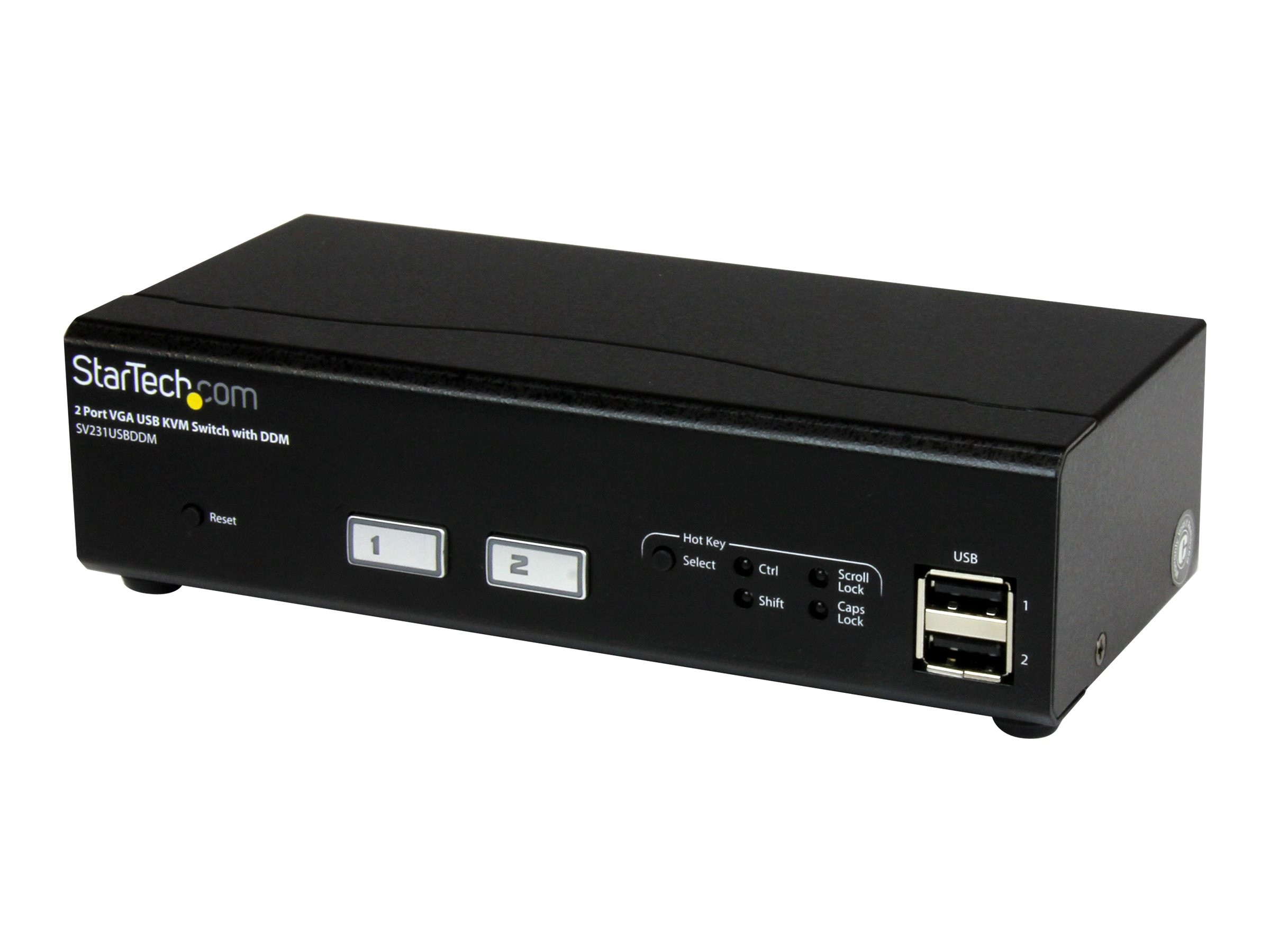 StarTech.com 2-Port USB VGA KVM Switch with DDM Fast Switching Technology and Cables