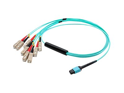 ACP-EP MPO to 4SC Duplex Fanout OM3 LOMM M F Patch Cable, Aqua, 1m, ADD-MPO-4SC1M5OM3