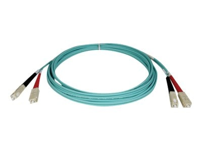 Tripp Lite Fiber 10Gb Patch Cable, SC SC, 50 125, Duplex, Multimode, Aqua, 10m, N806-10M, 5825319, Cables