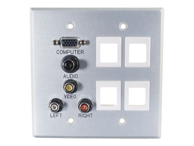 C2G Double Gang HD15 3.5mm Composite Video Stereo Audio 4 Keystone Wall Plate, Aluminum, 40509, 10082708, Premise Wiring Equipment