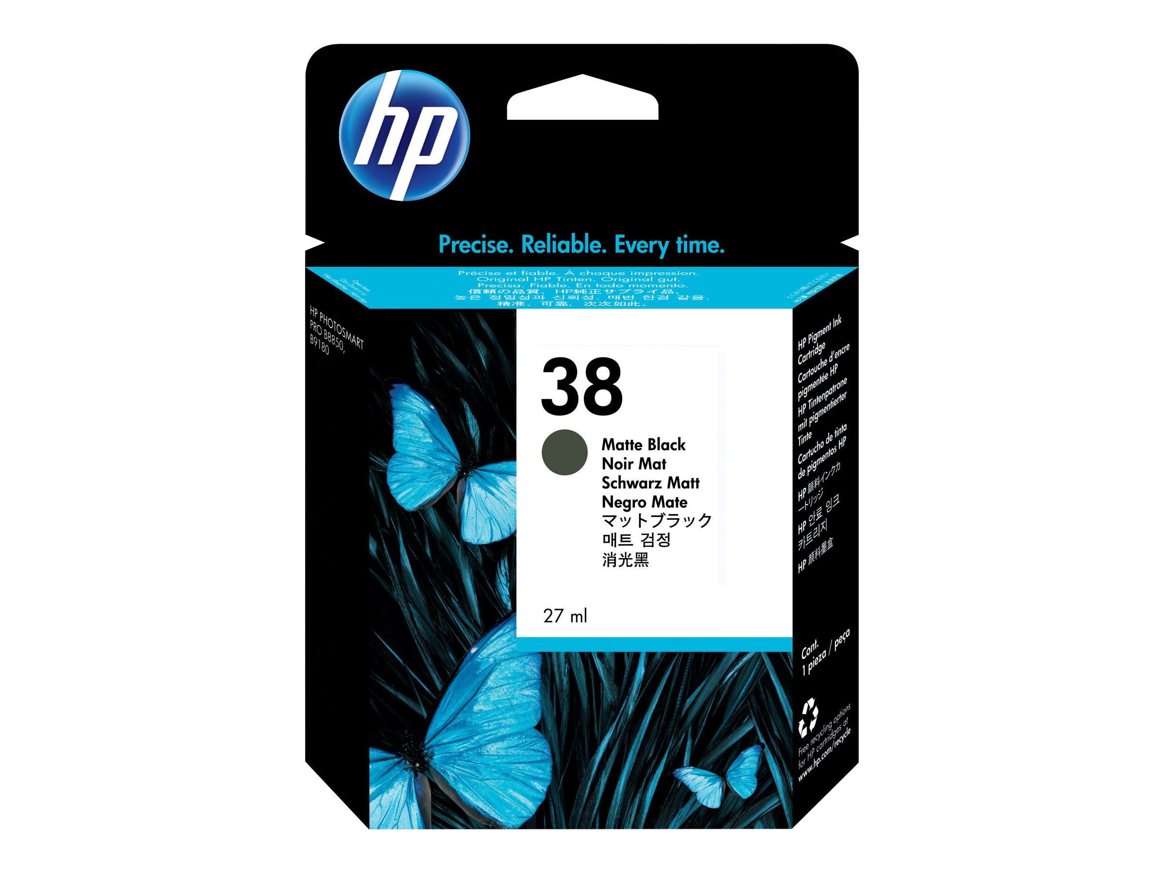 HP 38 (C9412A) Matte Black Pigment Original Ink Cartridge, C9412A, 7192332, Ink Cartridges & Ink Refill Kits