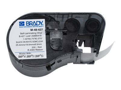 Brady 0.75 x 1 Self-Laminating Black on White Clear Vinyl Label Maker Cartridge for BMP51, BMP53 & BMP41, M-48-427, 17799331, Paper, Labels & Other Print Media