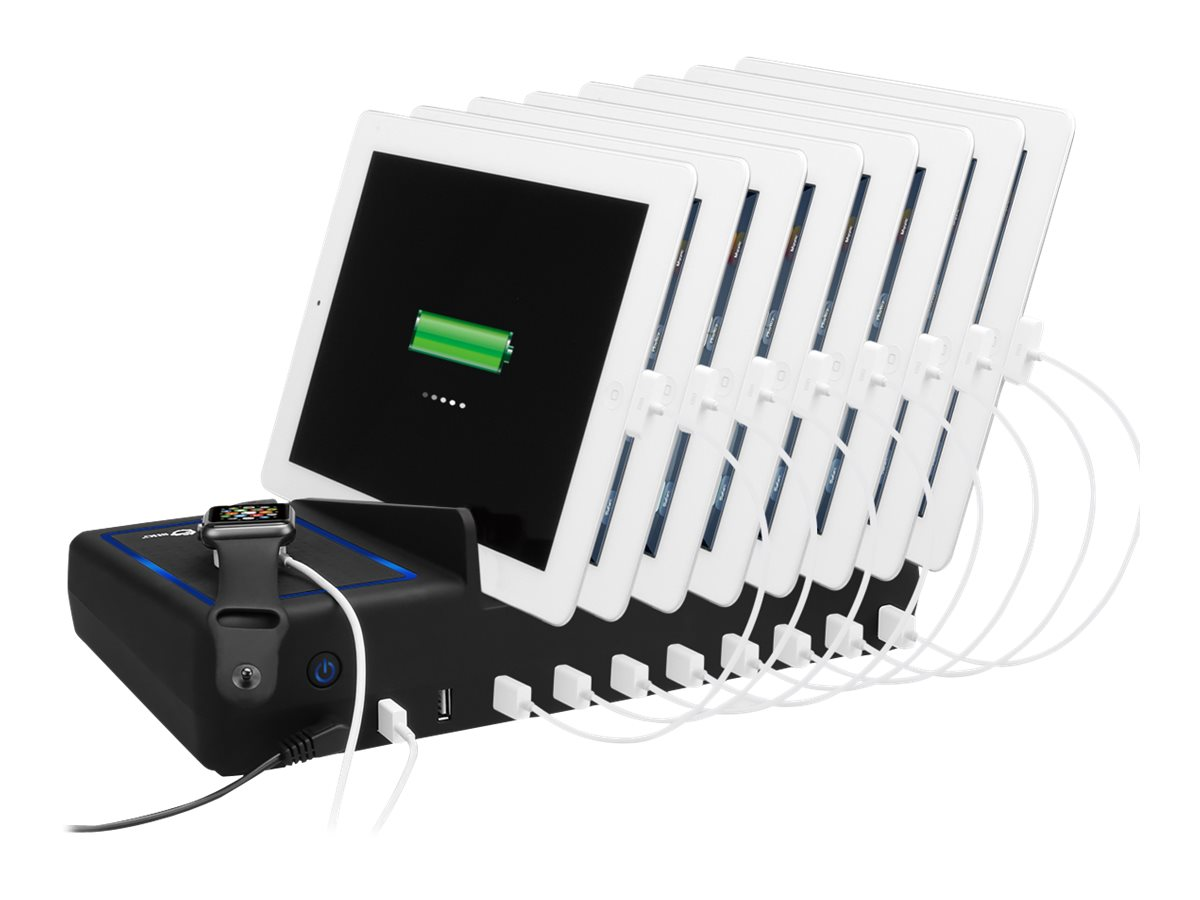 Siig 10-Port USB Charging Station with Ambient Light Deck, AC-PW1314-S1