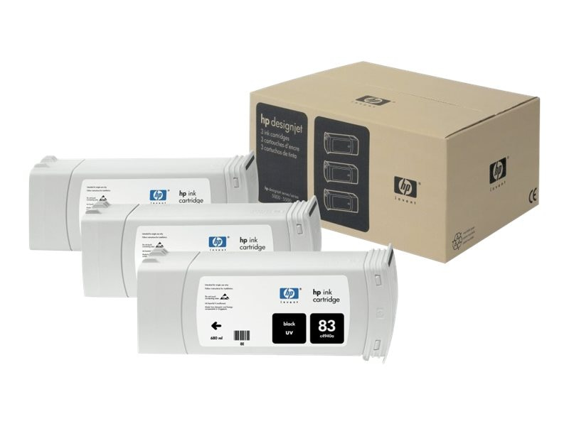 HP 83 Black UV Ink Cartridges (3-pack), C5072A, 469232, Ink Cartridges & Ink Refill Kits