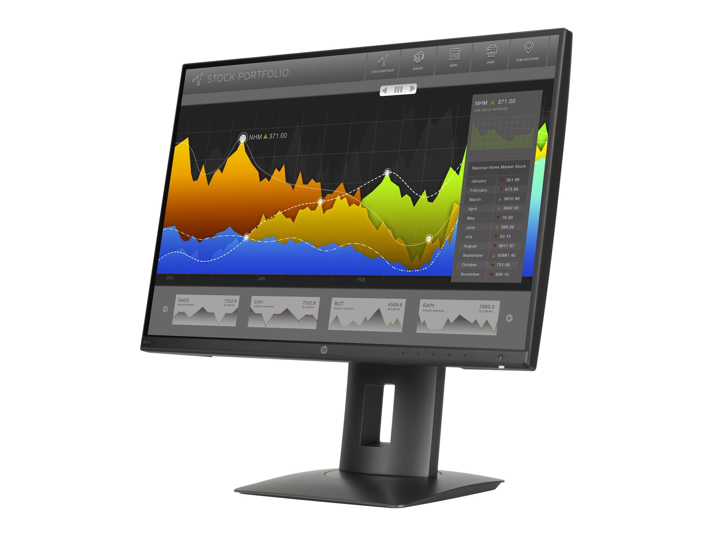 HP 23.8 Z24nq QHD LED-LCD Monitor, Black, L1K59A4#ABA