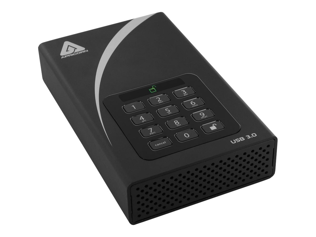 Apricorn 3TB Aegis Padlock DT Secure USB 3.0 External Hard Drive w  256-bit Hardware Encryption