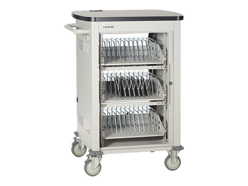 Black Box 36-Device Deluxe Charging Cart - Single Frame, Sliding Door, with Baskets, UCCSM-BIN1-36T