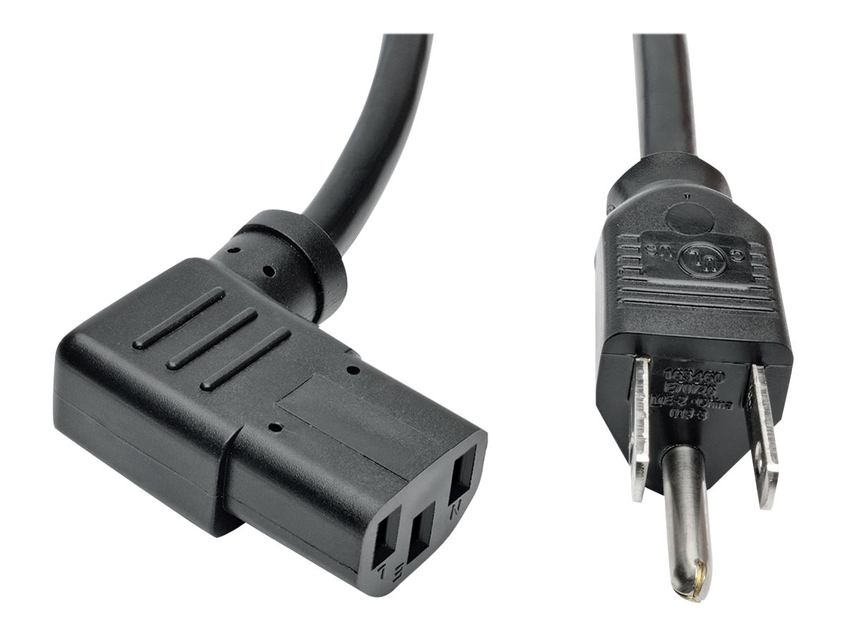 Tripp Lite Standard Computer Power Cord, NEMA 5-15P to IEC-320 C13 Right Angle Exit, 10A, 18AWG, Black, 14ft
