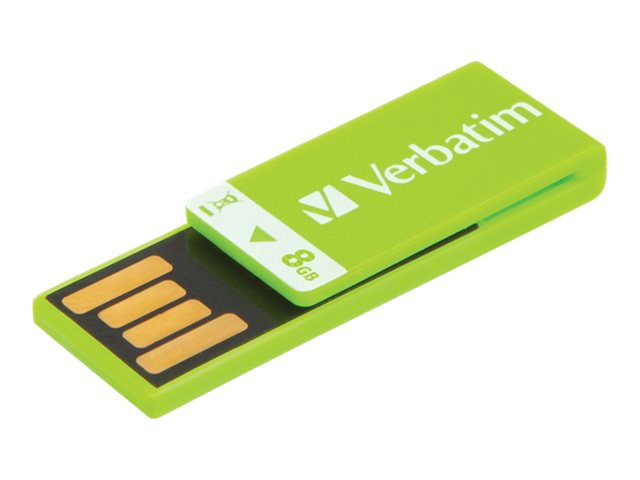 Verbatim 8GB Clip-it USB Flash Drive, Green, 43936