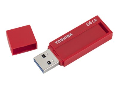 Toshiba 64GB TransMemory ID USB 3.0 Flash Drive, Red, PFU064U-1BLR, 19249519, Flash Drives