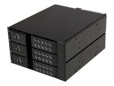 StarTech.com 3 Bay Aluminum Trayless Hot Swap Mobile Rack Backplane for 3.5 SAS 6Gb s SATA 6Gb s Hard Drives, HSB3SATSASBA