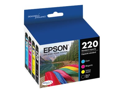 Epson T220 DURABrite Ultra Black & Color Ink Cartridge Multi-Pack, T220120-BCS, 18316839, Ink Cartridges & Ink Refill Kits