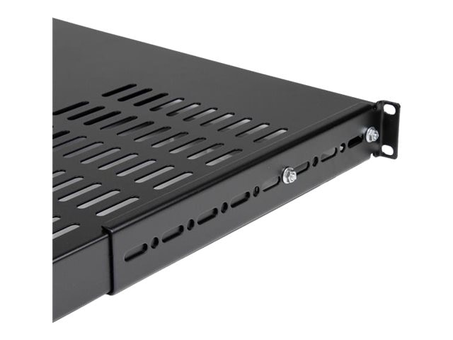 StarTech.com Adjustable Heavy Duty Vented Rack Mount Shelf, 1U x 19, Black, ADJSHELFHDV