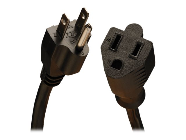 Tripp Lite AC Power Extension Cord NEMA 5-15R to NEMA 5-15P 120V 13A 16 3 SJT Black 3ft, P024-003-13A
