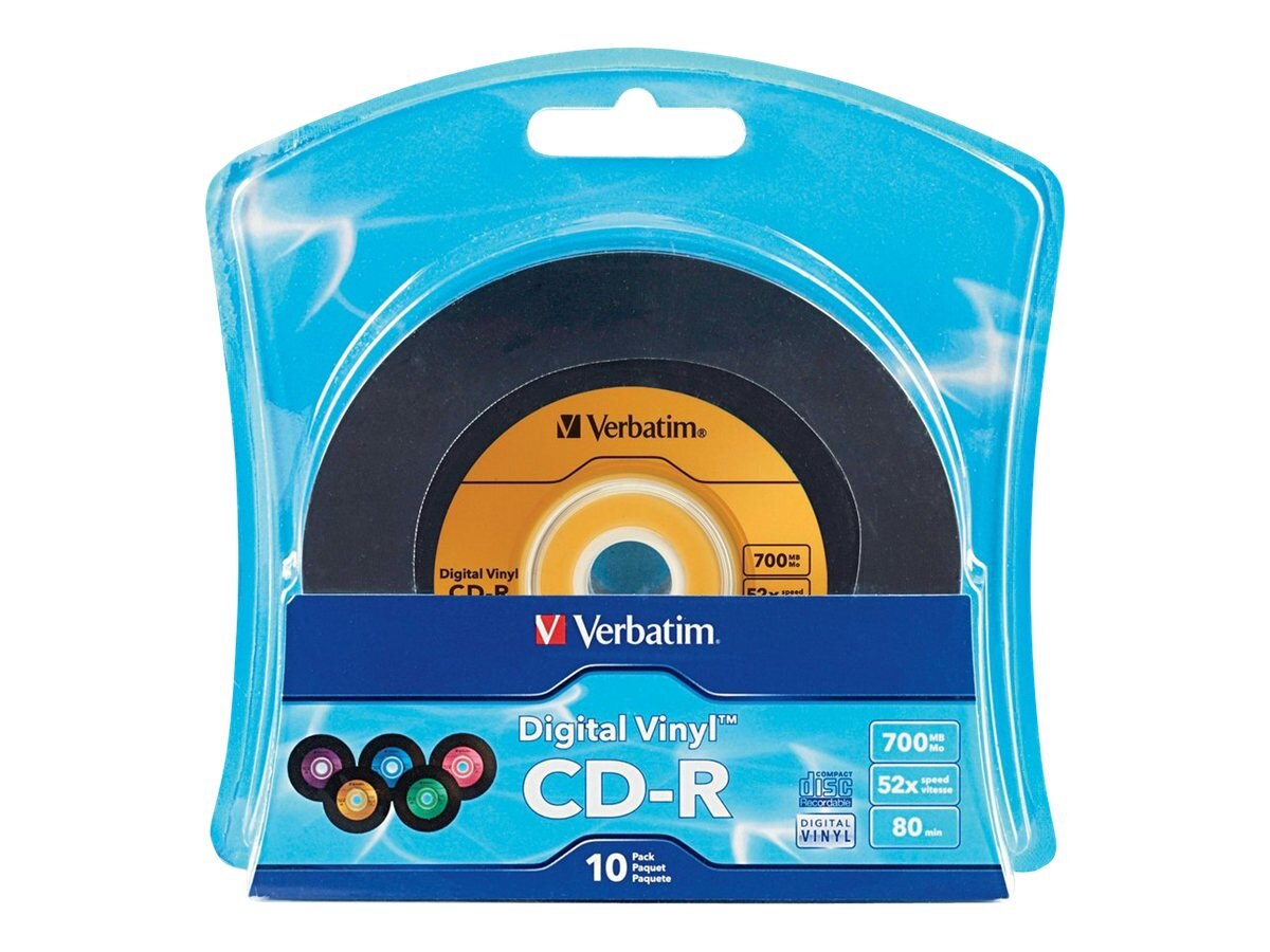 Verbatim 700MB 80min. Vinyl CD-R Media (10-pack), 96858, 11771986, CD Media