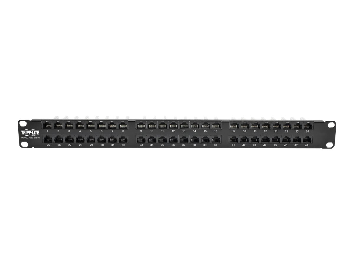 Tripp Lite 48-Port RJ45 Ethernet Rack-Mount High-Density UTP 110-Type Patch Panel, 568B, Cat5 5e, N052-048-1U