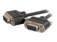 C2G Low Profile Null Modem Cable, DB-9 (F-F), CMG-Rated, Black, 15ft