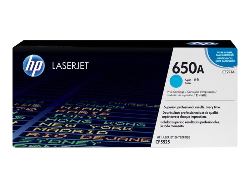 HP 650A (CE271A) Cyan Original LaserJet Toner Cartridge, CE271A, 11912064, Toner and Imaging Components