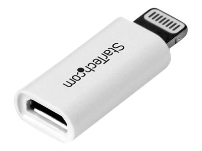 StarTech.com Apple 8-pin Lightning Connector to Micro USB Adapter for iPhone iPod iPad, White, USBUBLTADPW
