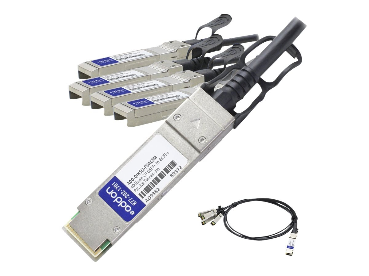ACP-EP Intel to Cisco Compatible 40GBase-CU QSFP+ to 4xSFP+ Passive Twinax Direct Attach Cable, 3m, TAA, ADD-QINSCI-PDAC3M