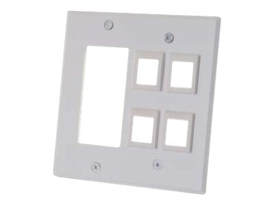 C2G Decora Compatible Cutout with Four Keystone Double Gang Wall Plate - White