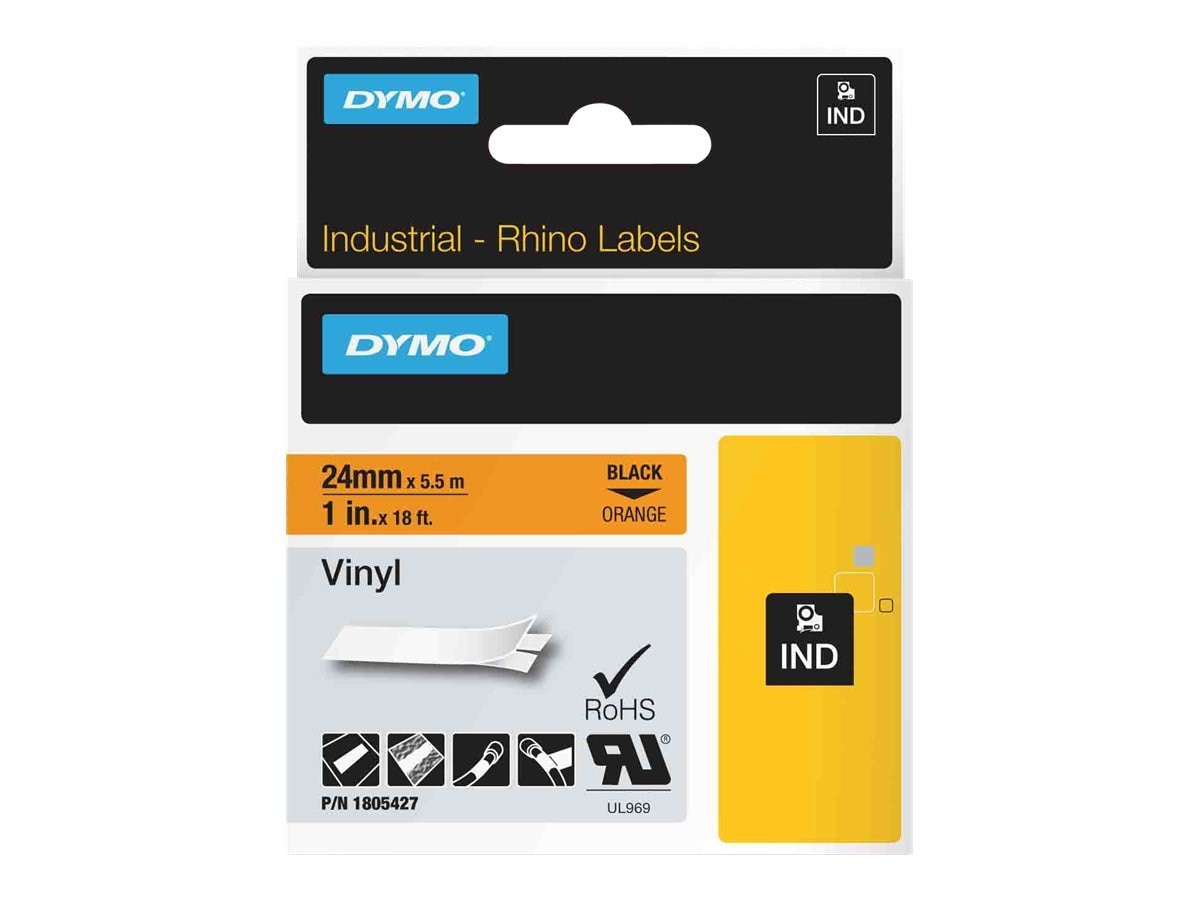 DYMO 1 Rhino Orange Vinyl Labels, 1805427, 13202470, Paper, Labels & Other Print Media