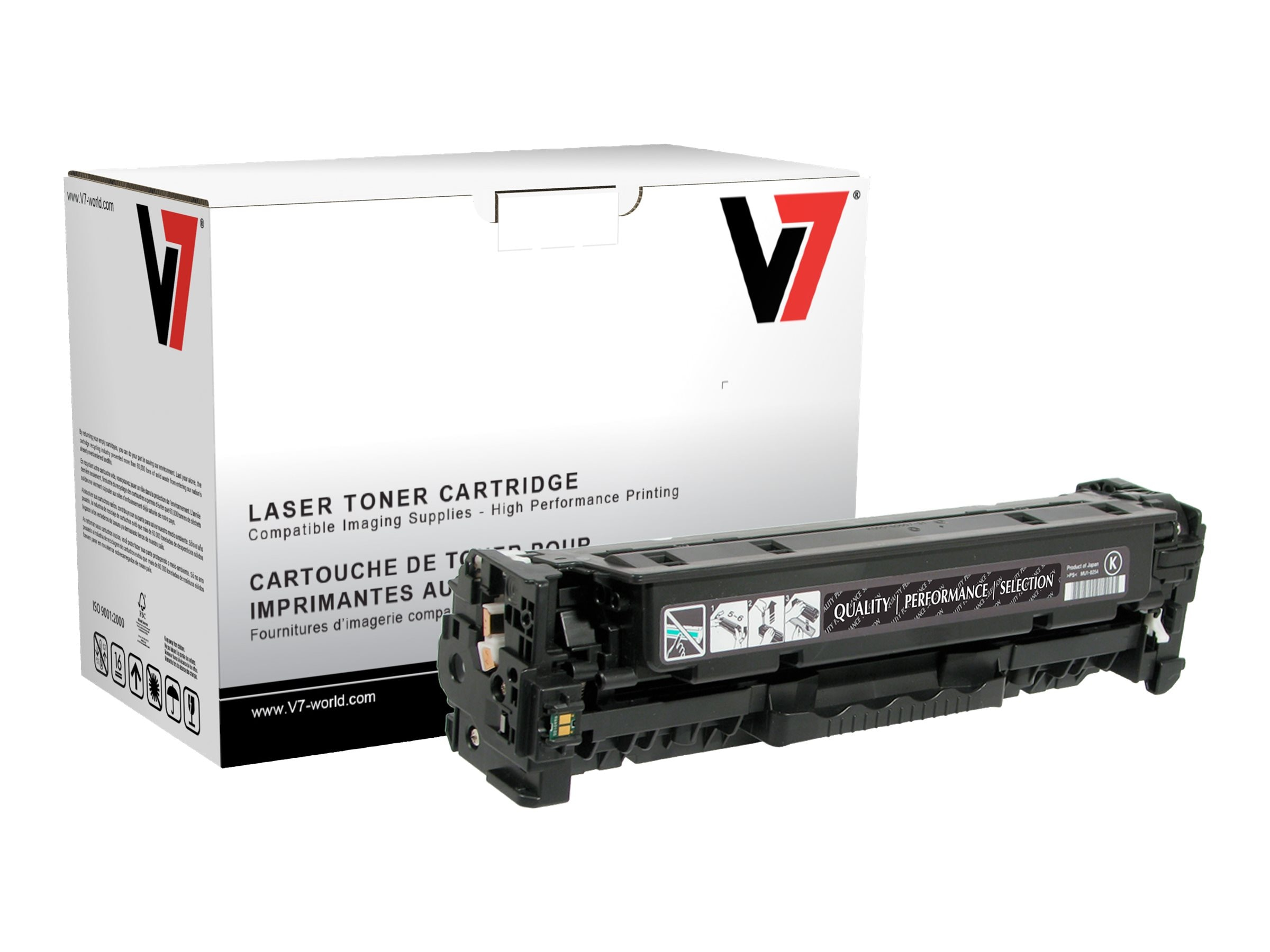 V7 CC530A Black Toner Cartridge for HP LaserJet CP2025 (TAA Compliant), THK22025
