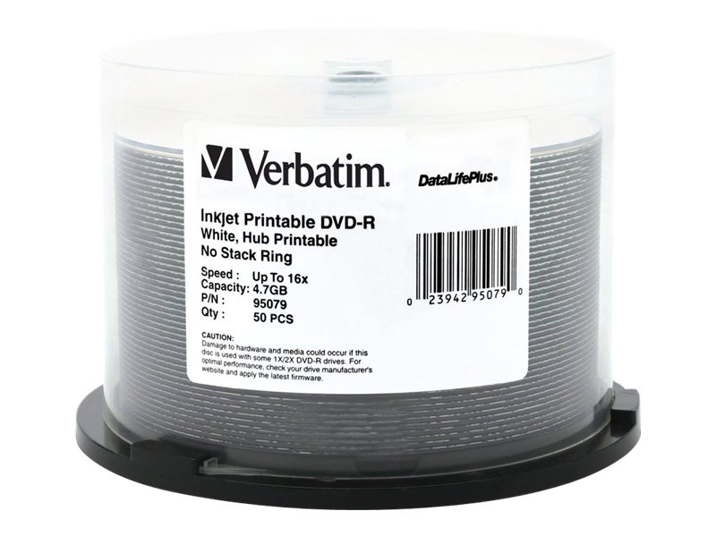 Verbatim 16x 4.7GB White Inkjet Printable DVD-R Media (50-pack Spindle), 95079