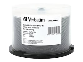 Verbatim 16x 4.7GB White Inkjet Printable DVD-R Media (50-pack Spindle), 95079, 5867084, DVD Media