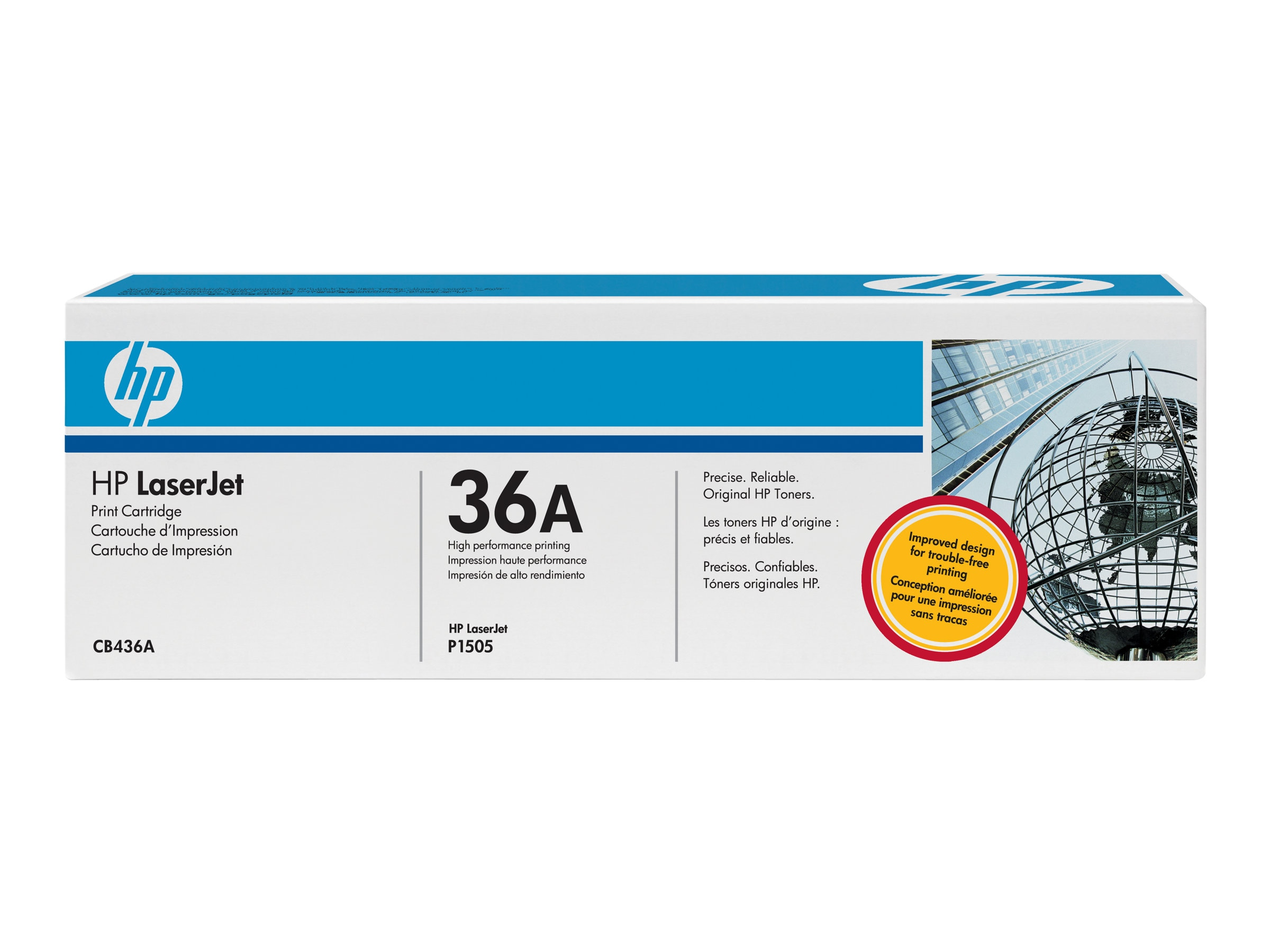 HP 36A (CB436A) Black Original LaserJet Toner Cartridge for HP LaserJet P1505 Series Printers, CB436A, 8156229, Toner and Imaging Components