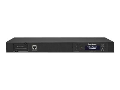 CyberPower Metered ATS PDU 120V 20A  LCD 1U (2) 5-20P Input  10ft Cords (10) 5-20R Outlets