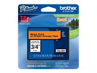 Brother 0.7 x 16.4' TZeB41 Black on Fluorescent Orange Tape for P-Touch