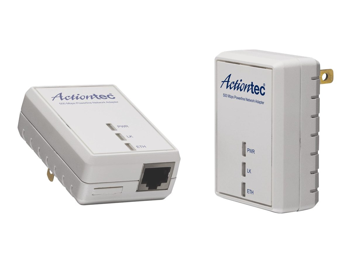 Actiontec Powerline 500Mbps Adapter Kit, PWR511K01, 14051811, Network Starter Kits