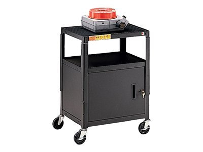 Bretford Manufacturing Adjustable-Height A V Cart with 5 Casters and 2 Outlets, Black, CA2642-E5, 8142222, Computer Carts